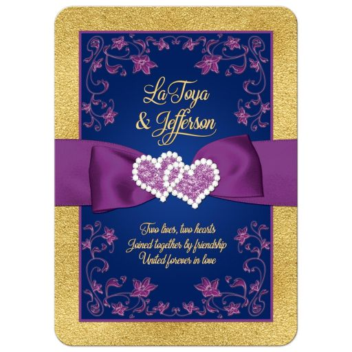 Navy blue, purple, and gold floral wedding invitation with ribbon, bow, glitter, joined love hearts, jewels, bling, and romantic verse.