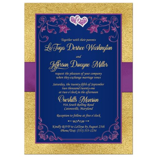 Navy blue, purple, and gold floral wedding invites with ribbon, bow, glitter, joined love hearts, jewels, bling, and romantic verse.