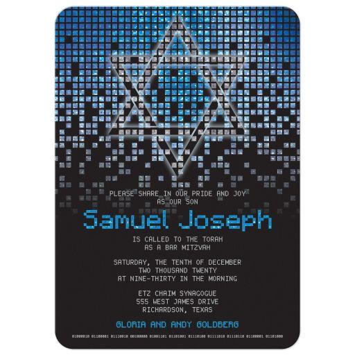 Blue gray black pixel computer techno font video game theme Bar Mitzvah invitation front