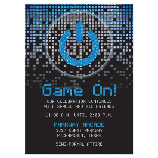 Blue, gray and black pixel computer techno font video game theme Bar Mitzvah reception card front