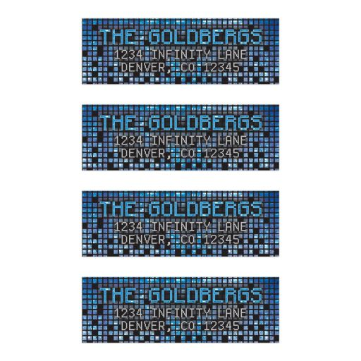 ​Blue, gray and black pixel computer techno font video game Bar Mitzvah address labels