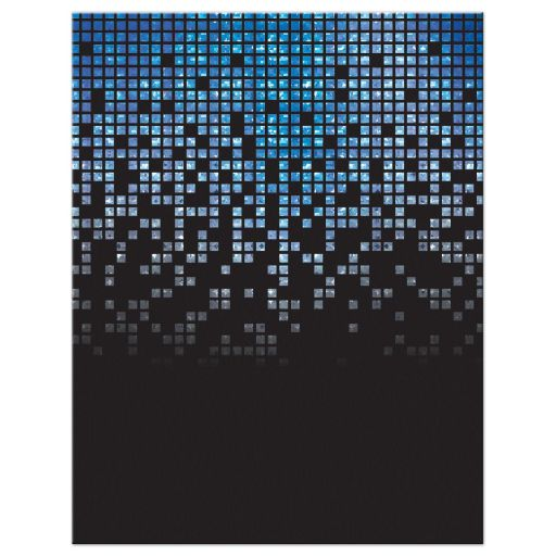 Blue, gray and black pixel computer techno font video game theme Bar Mitzvah save the date card back
