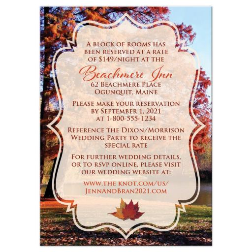 Autumn trees fall foliage wedding accommodations enclosure card inserts with water, pond, or lake in burnt orange, rust, red, gold, tan, and brown.