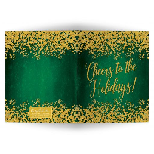 Green & Gold Cheers to the Holidays Christmas Card by The Spotted Olive
