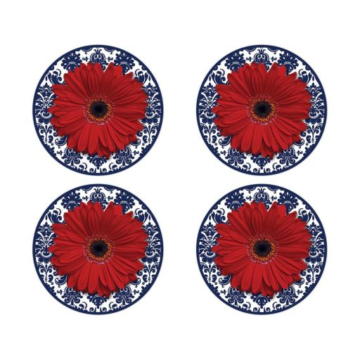 ​Red gerbera daisy, navy blue damask wedding stickers or envelope seals