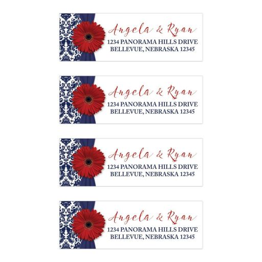 Red gerbera daisy and navy blue damask floral and ribbon wedding return address labels