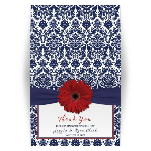 Red gerbera daisy and navy blue damask floral folded wedding thank you card.