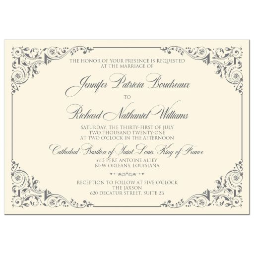 Simple, classic, traditional ivory and grey wedding invitation with ornate corner scrolls and flourishes.