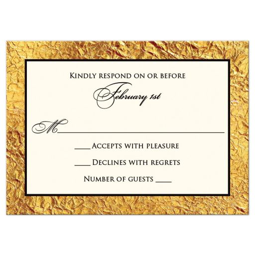 RSVP card - Ivory, Black, Simulated Gold Laurel Wreath