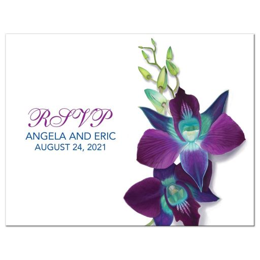 ​Beautiful Blue Bom Dendrobium orchid painting wedding RSVP postcard front