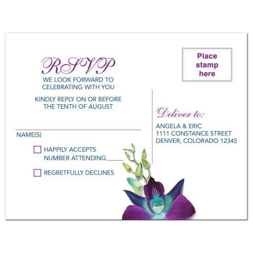 Beautiful Blue Bom Dendrobium orchid painting wedding RSVP postcard back