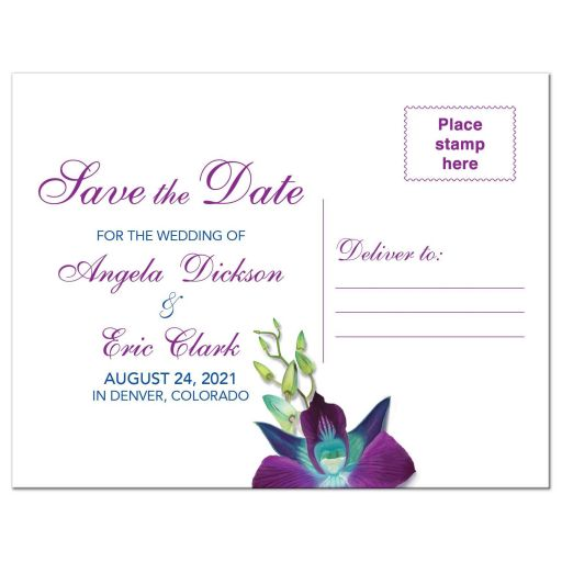 ​Beautiful Blue Bom Dendrobium orchid painting wedding save the date postcard back
