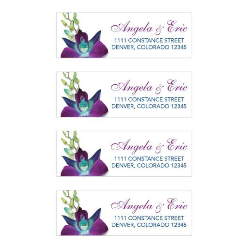 Beautiful Blue Bom Dendrobium orchid painting wedding address labels