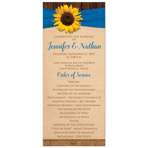 ​Sunflower and cobalt or royal blue wedding program or order of service with brown burlap and wood.