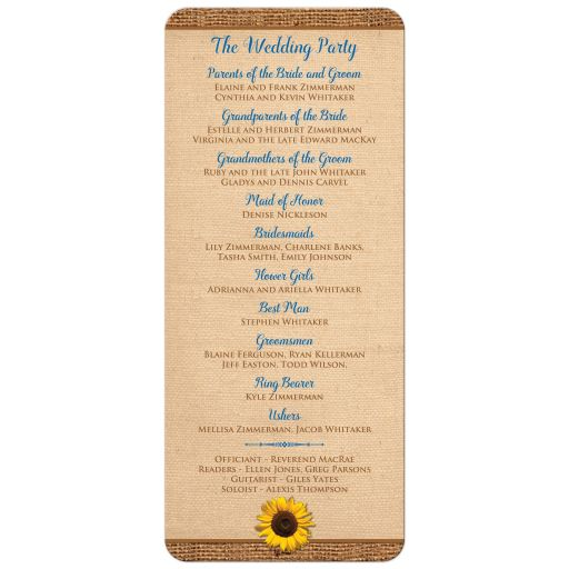​Sunflower and cobalt or royal blue wedding programs or order of service with brown burlap and wood.