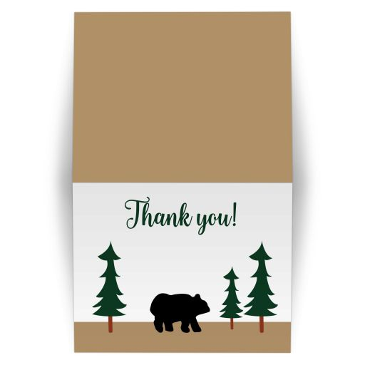 Rustic Bear Forest Folded Thank you Note Card