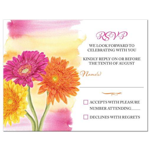 Spring or summer yellow, orange and pink gerbera daisy wedding RSVP card