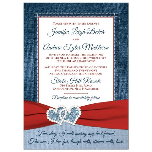 Denim and diamonds wedding invitation with red ribbon and optional photo template.