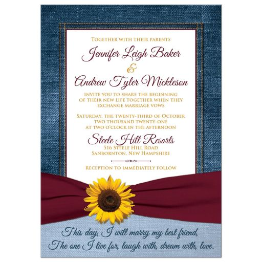 Sunflower and burgundy wedding invitation with a burgundy ribbon and optional photo template on blue denim.