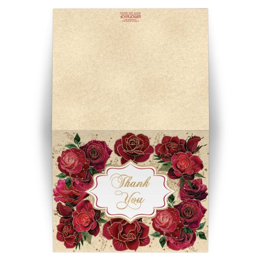 Red, burgundy, and pink roses thank you card with gold accents.