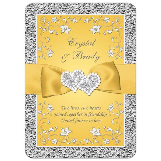 yellow and silver grey gray floral wedding invitation with yellow ribbon, bow, joined jewel and glitter joined hearts brooch and ornate scrolls.