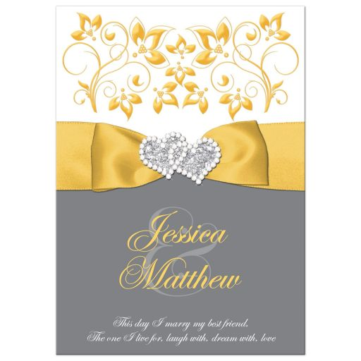 Yellow, white, grey gray floral wedding invitation with yellow ribbon, bow, joined jewel and silver glitter joined hearts brooch and ornate scrolls.