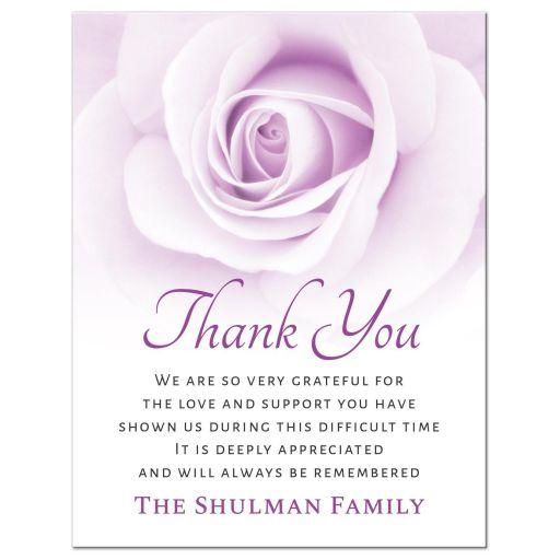 Purple rose funeral bereavement sympathy thank you card