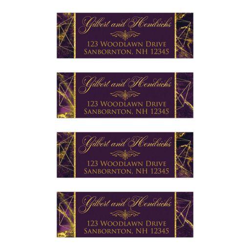 Purple, Gold Geometric Cosmic Marble Wedding Return Address Labels.