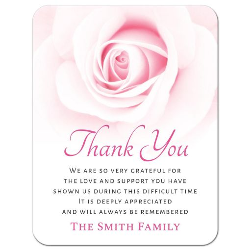 Bereavement sympathy thank you cards with beautiful pink rose