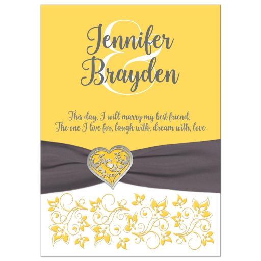 Yellow, gray, white floral wedding invitations with charcoal gray ribbon and silver heart brooch and ornate scrolls.