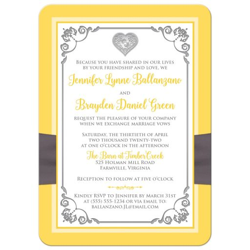 Yellow, grey, white floral wedding invites with charcoal gray ribbon and silver heart brooch and ornate scrolls.