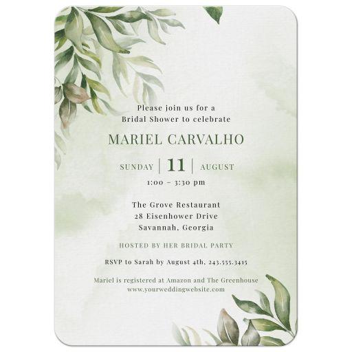 Watercolor Greenery Boho Bridal Shower Invitation