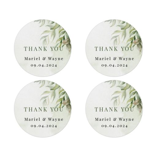 Watercolor Greenery Boho Wedding Thank You Sticker