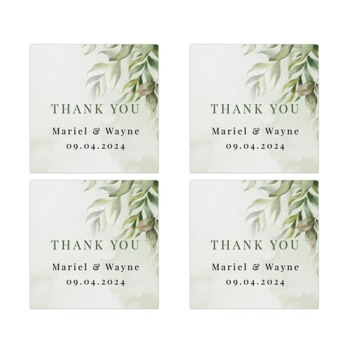 Watercolor Greenery Boho Wedding Thank You Square Stickers