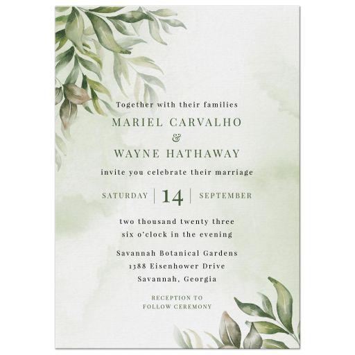 Watercolor Greenery Boho Wedding Invitation