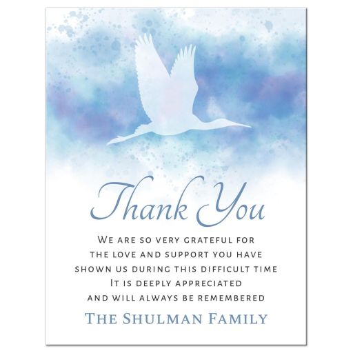 Flying crane on soft watercolor bereavement sympathy thank you card