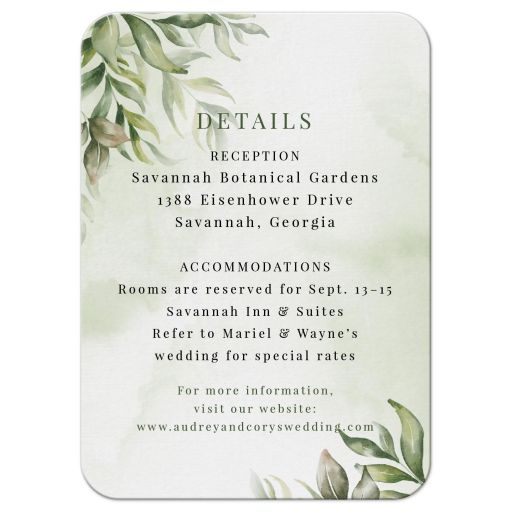 Watercolor Greenery Boho Wedding Reception Insert Card