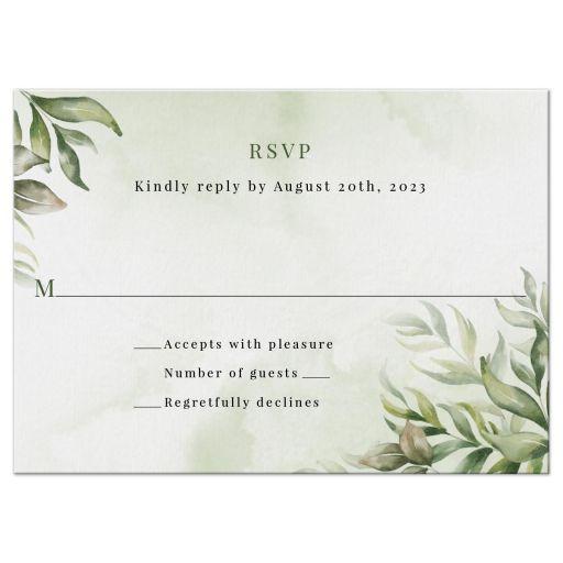 Watercolor Greenery Boho Wedding RSVP Reply Card
