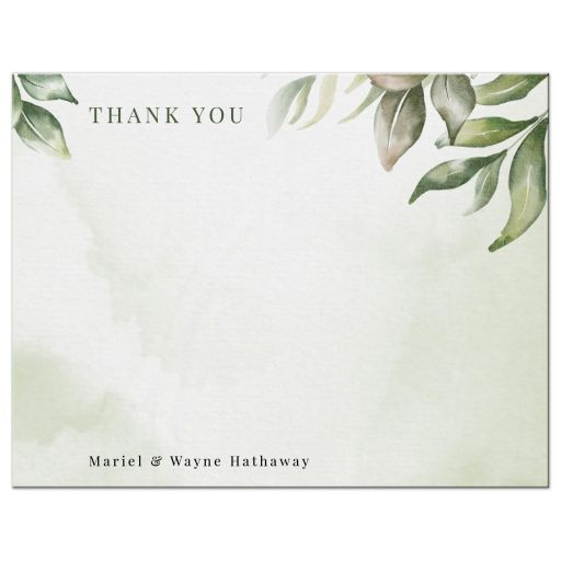Watercolor Greenery Boho Personalized Note Card