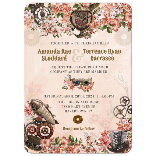Vintage Floral Steampunk Wedding Invitation