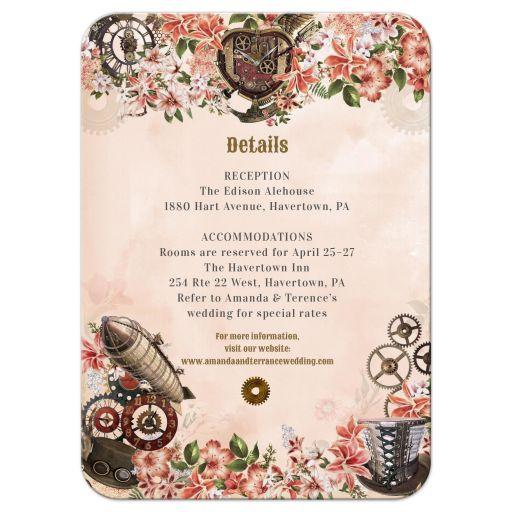Vintage Floral Steampunk Wedding Reception Enclosure Card