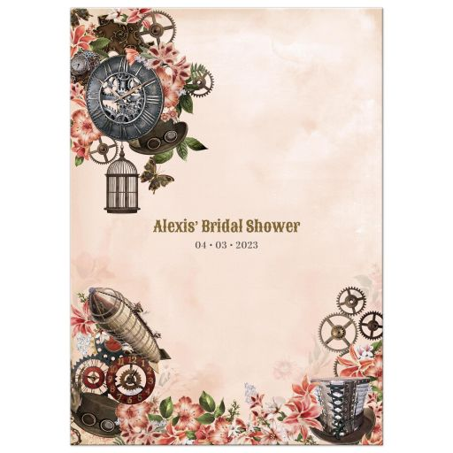 Vintage Floral Steampunk Bridal Shower Invitation