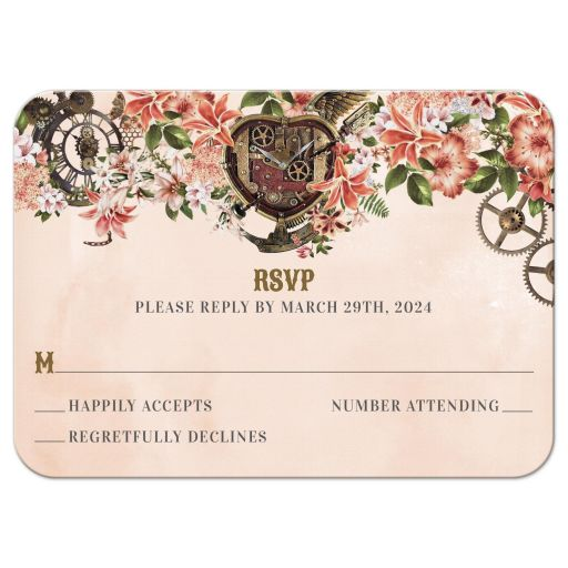 Vintage Floral Steampunk Reply RSVP Card
