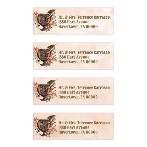 Vintage Floral Steampunk Address Labels