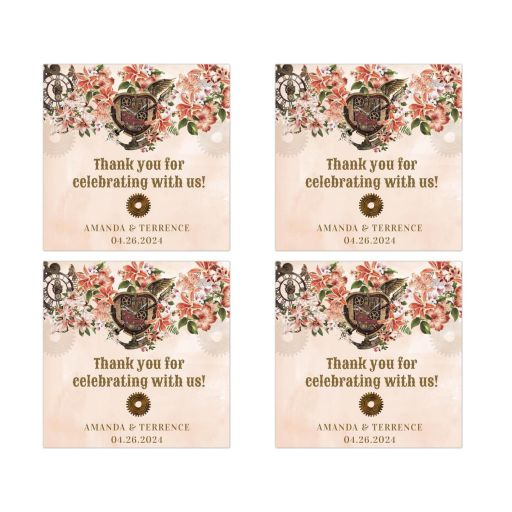 Vintage Floral Steampunk Wedding Event Square Stickers