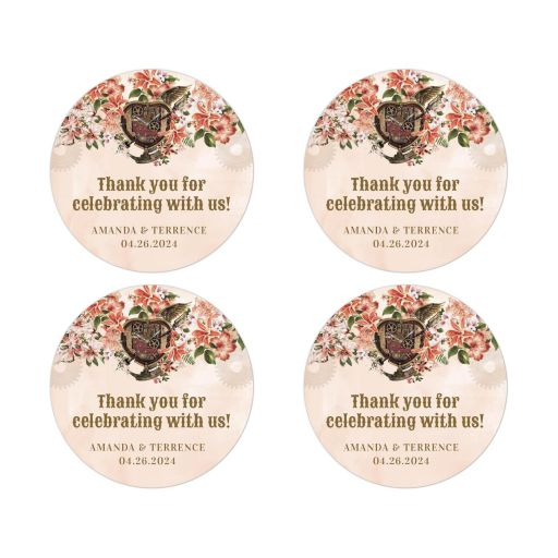 Vintage Floral Steampunk Wedding Event Round Stickers