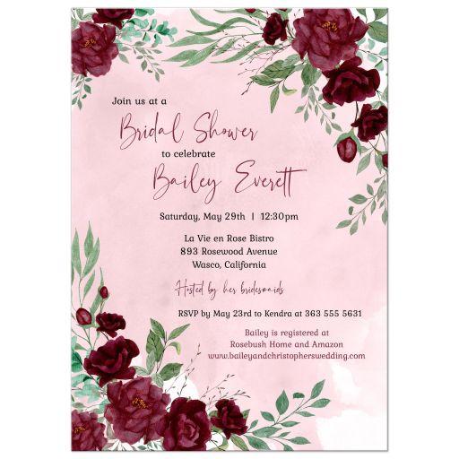 Watercolor Burgundy Roses Bridal Shower Invitation