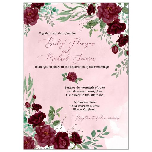 Watercolor Burgundy Roses Wedding Invitation