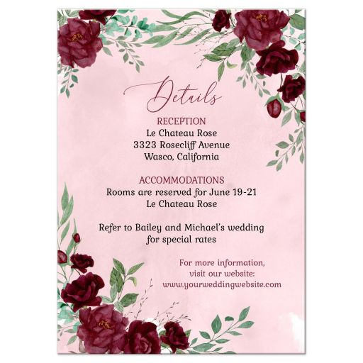 Watercolor Burgundy Roses Wedding Insert Reception Card