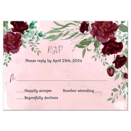 Watercolor Burgundy Roses Wedding Reply RSVP Card